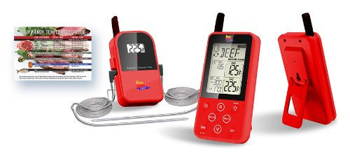 Maverick ET-733 Long Range Digital Wireless Meat Thermometer Set Dual Probe and Dual Temperature Monitoring With Meat Temperature Magnet Guide – Red