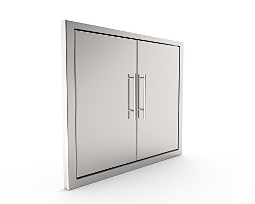 BBQ ACCESS DOOR/ELEGANT NEW STYLE* 31 Inch 304 Grade Stainless/ Steel Bbq Island/Outdoor Kitchen Access Doors Include Heavy Duty DOUBLE WALL Construction & Convenient Built In Paper Towel Holder