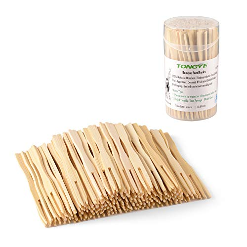 TONGYE Bamboo Forks 3.5 Inch, Mini Food Picks for Party, Banquet, Buffet, Catering, and Daily Life. Two Prongs – Blunt End Toothpicks for Appetizer, Cocktail, Fruit, Pastry, Dessert. (110 PCS)