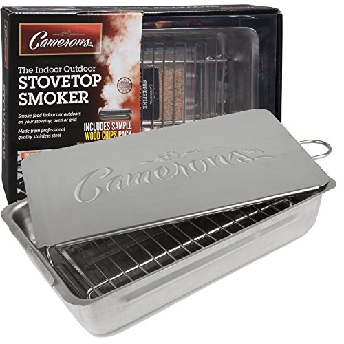 Indoor Outdoor Stovetop Smoker – Heavy Duty Stainless Steel 11″ Smoker with Wood Chips Included