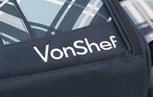 VonShef – 4 Person Blue Tartan Picnic Backpack Bag with Cooler Compartment, Detachable Bottle/Wine Holder, Fleece Blanket, Flatware and Plates