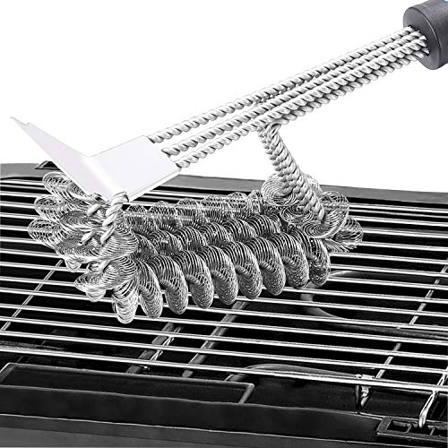 """CHbaby-Home Grill Brush Bristle Free – Stainless Steel Brush with 18"""" Handle for Porcelain Ceramic Iron or Steel Grills – Built in Scraper and Rust Resistant"""