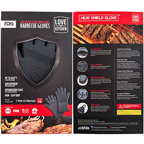 Premium Silicone BBQ & Grill Gloves in Attractive Gift Box. 13.5″ Long for Better Protection. Heat Resistant to 442 Degrees, for Grilling & Smoking. Great for Barbecue & Oven (Size: S/M, 1 Pair)