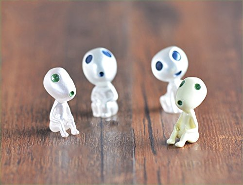 SUN-E 4 Pcs/lot Princess Mononoke Luminous Tree Elves Spirit Kodama Gardening Potted Decoration Micro Landscape Accessories