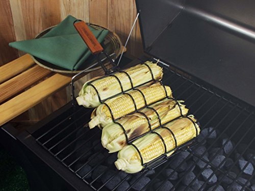 Charcoal Companion Non-Stick Corn Grilling Basket with Rosewood handle