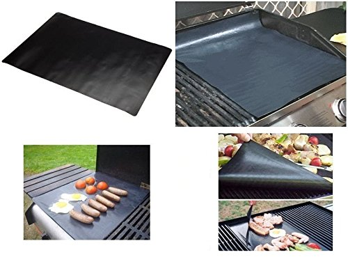 "2 BBQ Grill Mat, Extra Thick 200microns, Non-Stick, PFOA free, 40 x 50 cm (15 ¾"" x 19 ½""), reusable and reversible"