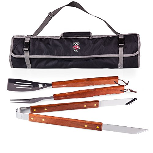 NCAA Wisconsin Badgers 3-Piece BBQ Tool Set With Tote
