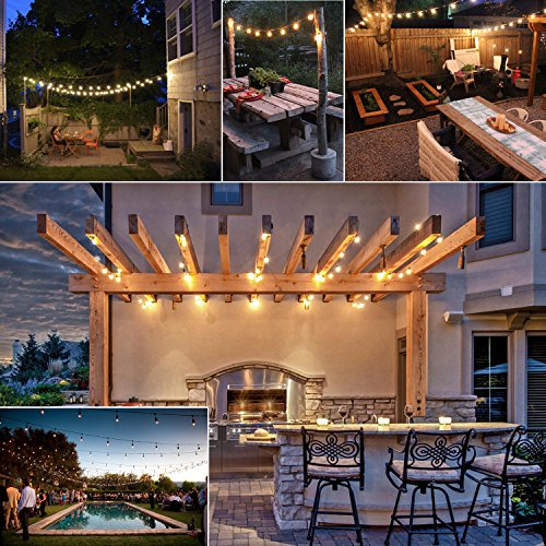 bangcool 48 Foot Weatherproof Outdoor String Lights – UL Listed – 15 Hanging Sockets – Perfect Patio Lights for Easter Decoration – Black – 18 11S14 Incandescent Bulbs Included (String Light)