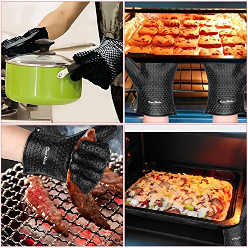 2PCS Black Silicone Cooking Barbecue Gloves-Digital Meat Food Thermometer-2PCS Meat Claws,Heat Resistant Oven for Grilling,BBQ,Kitchen