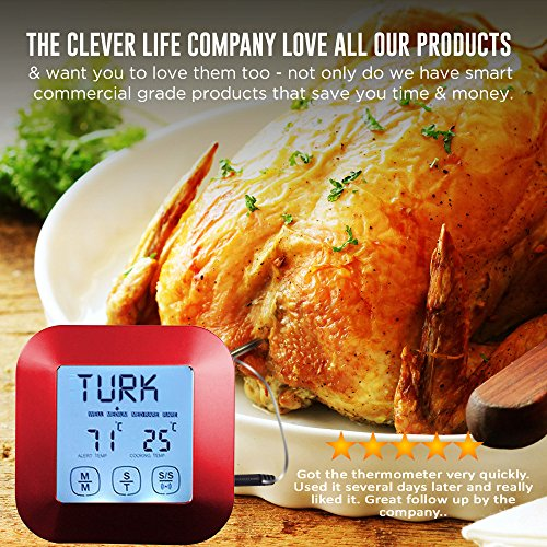 Great Digital Meat Food Thermometer – Instant Read with 3 Stainless Steel Temperature Probes for Cooking Food in Oven, BBQ, Smoker or Grilling Meat, Roasting Turkey & Candy, Red Kitchen Timer