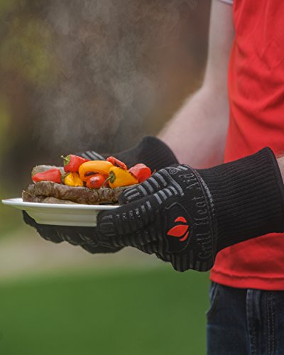 GRILL HEAT AID Extreme Heat Resistant Grill/BBQ Gloves | Premium Insulated Durable Fireproof Kitchen Mitts Designed For Cooking, Grilling, Frying, Baking | Indoor/Outdoor Accessories For Men & Women