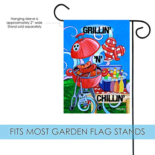 Toland Home Garden Grillin' n Chillin' 12.5 x 18 Inch Decorative Colorful BBQ Summer Picnic Barbecue Grill Garden Flag