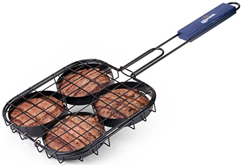 Corona BBQ Grill Accessories Set as Hamburger Grill Basket with Locking Grill Handle for Outdoor/ Indoor BBQ Set Tools for Grilling 4 Burgers At Once