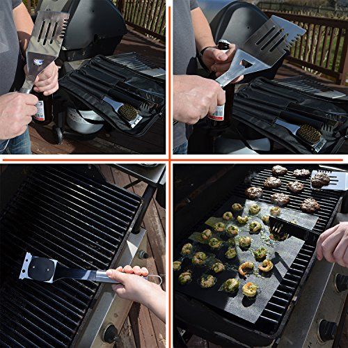 ValdoHome New Stainless Steel BBQ Grill Tools Set – 5 Piece Grilling Tool Accessories Barbecue Kit W/Carry Bag and Silicone BBQ Mat