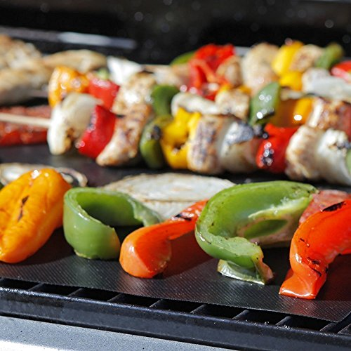Brekky BBQ Grill Mat – Set of 3 – Teflon Nonstick Grilling Accessory – Perfect for Charcoal, Electric and Gas Grill