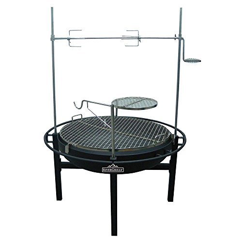 RiverGrille Cowboy 31 in. Charcoal Grill and Fire Pit with Rotisserie