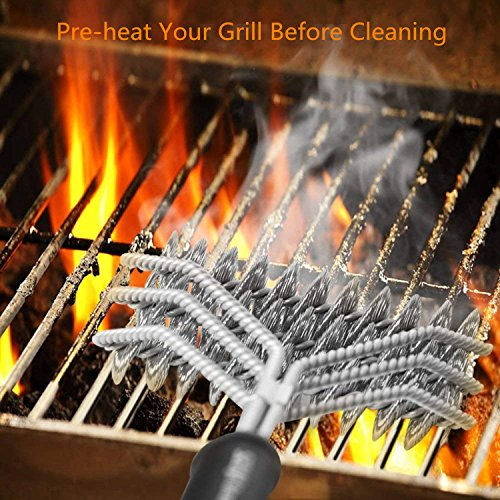 Yomitek BBQ Grill Brush Cleaner, 100% Safe BBQ Brush Bristle Free with Triple Stainless Steel Scrubbing Heads,18-inch Barbecue Cleaning Brush,Grilling Accessories for All Grill Grates