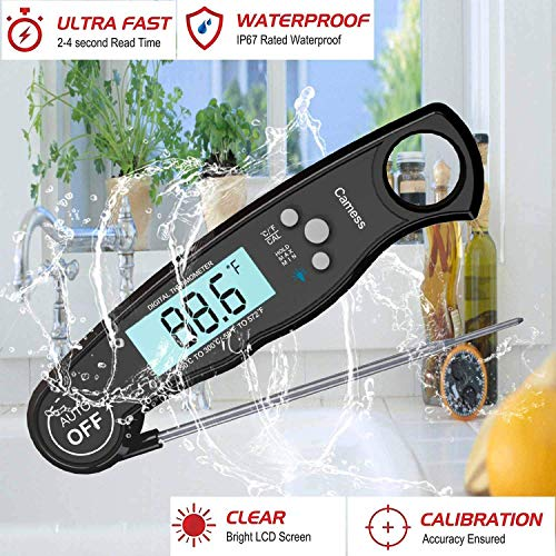Digital Instant Read Meat Thermometer – Waterproof Kitchen Food Cooking Thermometer with Backlight LCD – Best Super Fast Electric Meat Thermometer Probe for BBQ Grilling Smoker Baking Turkey (black)