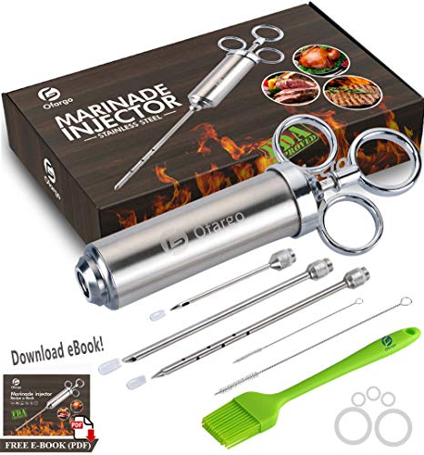 Ofargo 304-Stainless Steel Meat Injector Syringe with 3 Marinade Needles for BBQ Grill Smoker, 2-oz Large Capacity, Recipe E-Book (Download PDF)