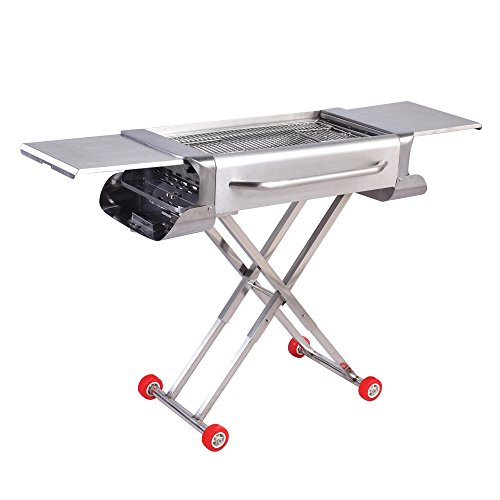 Sougem Portable Charcoal Grill for Outdoor Cooking Camping and Tailgating Thickened Stainless Steel Folding Barbecue Grill