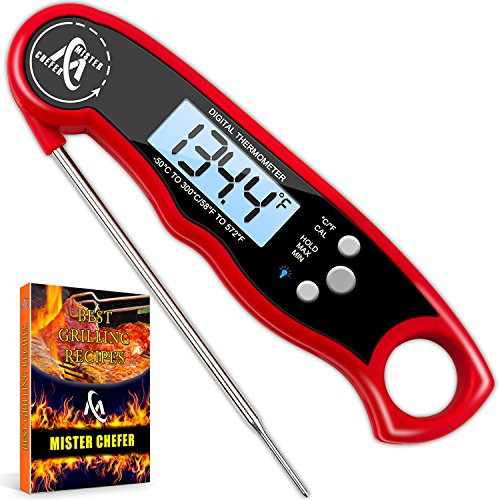 Digital Meat Thermometer – Best Waterproof Instant Read Thermometer with Calibration and Backlight functions (Red)