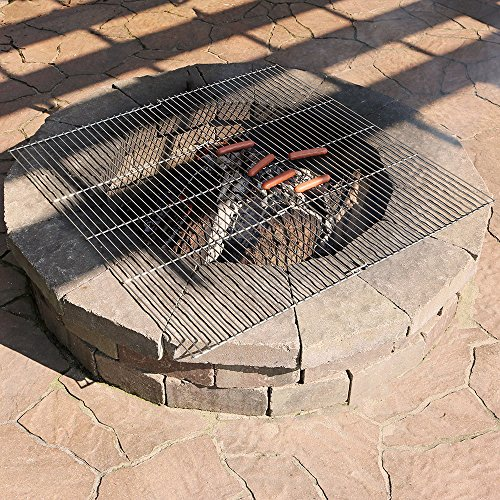 Sunnydaze Square Folding Chrome Cooking Grate, Outdoor BBQ Fire Pit Campfire Grill, 36 Inch