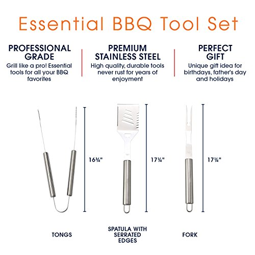 BBQ Utensil Set for Grilling | Professional Grade Stainless Steel 3 Piece Barbecue Grill Tools Set – Includes Essential bbq Accessories: 4-in-1 Spatula Turner, Tongs and Fork