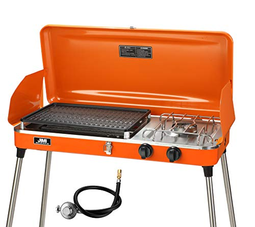Portable 2 Burner Grill/Stove,Propane Grill with Free Hose and Adapter for Outdoor Cooking-Camping and Tailgating,Orange (Orange)
