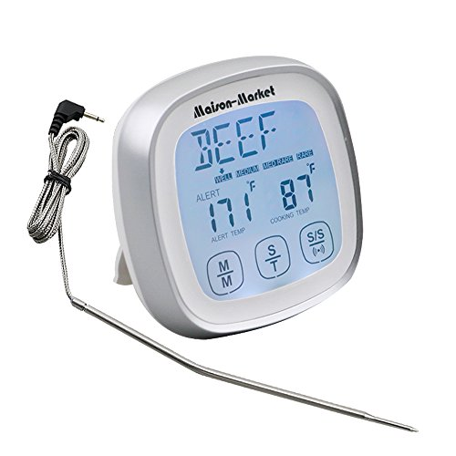 Maison-Market Digital Meat Thermometer Touch Screen Fast Reading Accurate Thermometer, Versatile Timer Alarm for Kitchen Cooking Grill Barbecue Smokers Oven