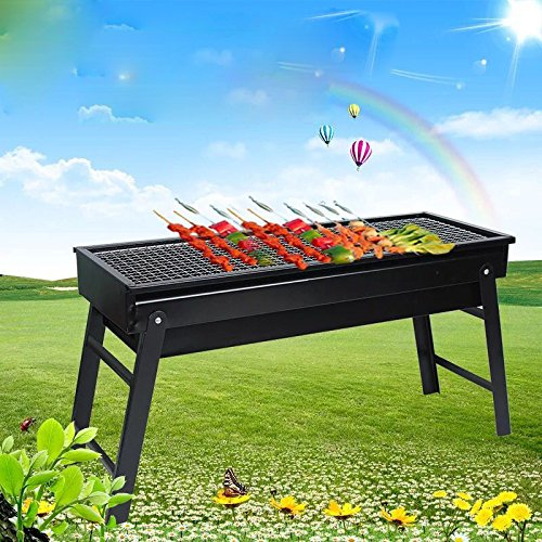 Rerii Barbecue Charcoal Grill, Folding Charcoal Grill, Portable BBQ Grill Tool for Outdoor Camping Hiking Cooking Picnics – 23.6″ x 8.07″ x 13″