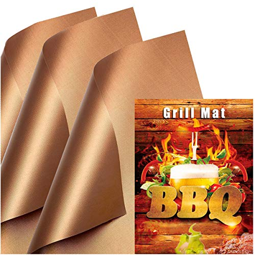 Copper Grill Mat (Set of 3) Non-Stick BBQ Grill &Baking Mats for Gas, Charcoal, Electric Grill Sheet – Extended Warranty – 15.75 x 13 Inch