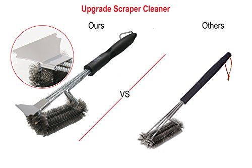"WareExpert Grill Cleaning Brush with Scraper Triple Head Scrubber for Porcelain, Ceramic, Steel, Iron- Stainless Steel Bristles- 18"" Long- with Storage Bag"