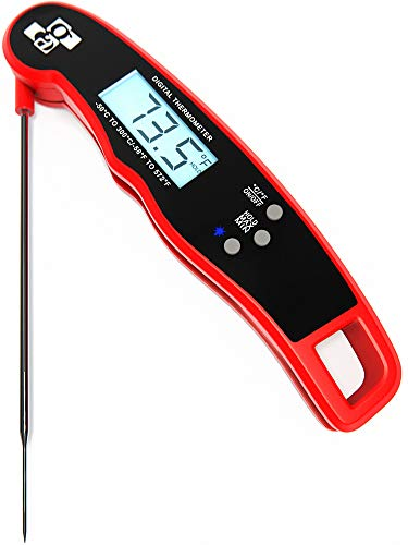Digital Meat Thermometer – BBQ Thermometer for Grilling – Waterproof Cooking Meat Thermometer – Food Thermometer Instant Read – Outdoor Cooking Thermometer for Grill – Folding Metal Meat Thermometer