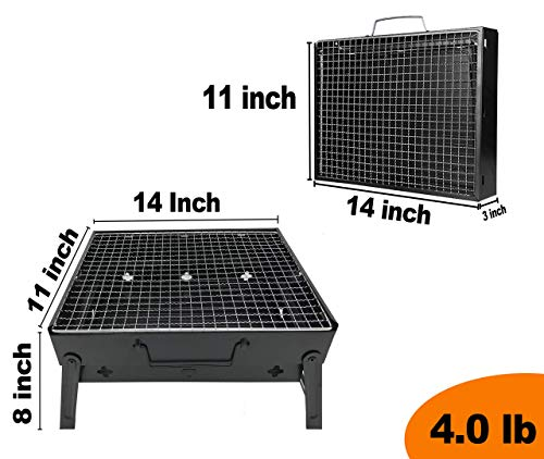 RIGMA Portable Barbecue Charcoal Grill – Folding & Lightweight Compact BBQ – Stainless Steel Carry-ON for Camping, PICNICS, Backpacking, BACKYARDS, Survival, Emergency Preparation (Small)