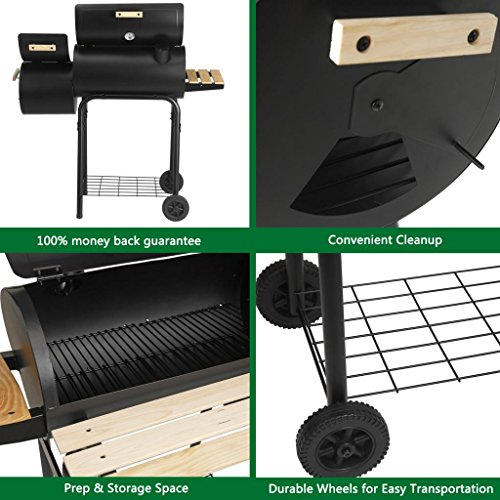 Artist Hand Barbecue Charcoal Grill with Side Fire Box, Offset Smoker 47″