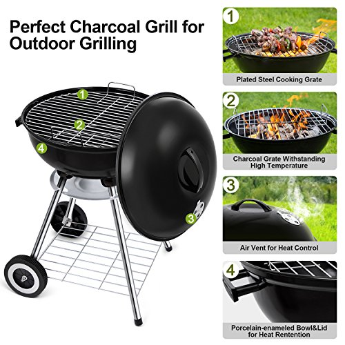 BEAU JARDIN Portable Charcoal Barbecue Smoker Tailgating Round Standing Camping BBQ Kettle Grills, Outdoor Steel Cooking Grate for Steak, 18 Inch