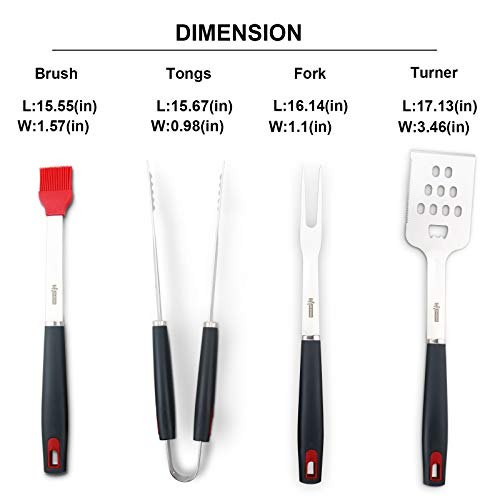 XI-HOME Heavy Duty Stainless Steel BBQ Tools, Barbecue Grilling Utensils Set, 4-Piece BBQ Tool Kit
