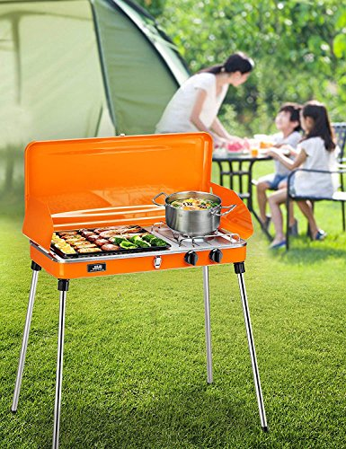 JIMI Portable Two Burner Grill/Stove,Propane Grill for Picnic, Portable Gas Grill with Hose and Adapter,BBQ Grill for Outdoor Picnic Patio Backyard Camping,Gas Grill for Kitchen Cooking. (Orange)