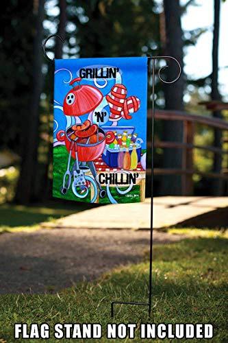 Toland Home Garden Grillin' n Chillin' 12.5 x 18 Inch Decorative Colorful BBQ Summer Picnic Barbecue Grill Garden Flag