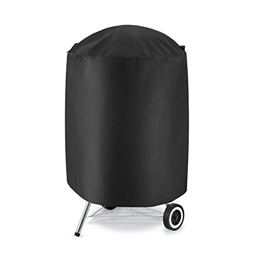 """iDepot Outdoor Kettle Grill Cover, Heavy Duty Waterproof Round Smoker Cover, Fade and UV Resistant Material, Cover Size 22""""Dia x 28""""H, Fits Weber, Char-Broil and More"""