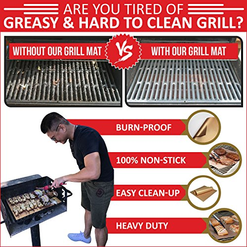 WareExpert Grill Mat | Set of 3 | Non-Stick Grilling Mats Copper Cookware & Bakeware | Reusable and Easy to Clean | PFOA Free | Perfect for gas, charcoal, infrared and electric grills