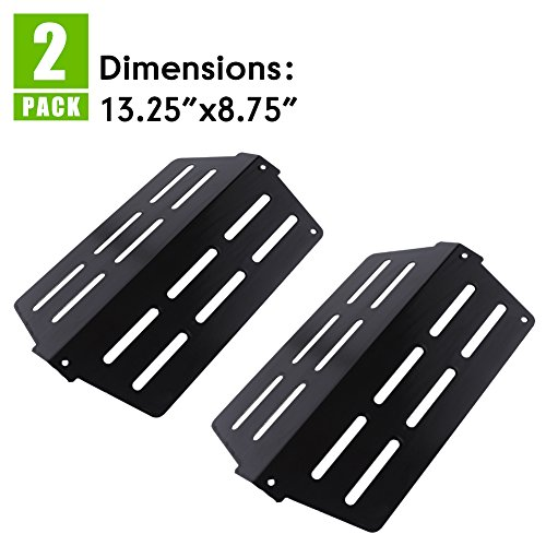"Replacement Heat Deflector for Weber Genesis 300 (2011 & Newer Model) Front Mounted Control Panels, Flavorizer Bar Heat Plate Replacement for 7622 (13 1/4"" X 8 3/4″) (2 Pack)"