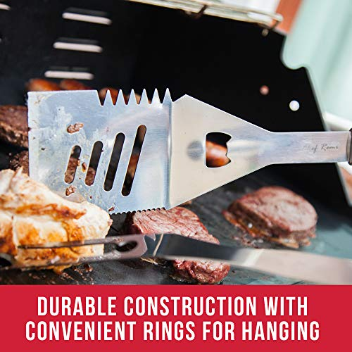 New Heavy Duty BBQ Grill Tools – Extra Thick Stainless Steel Suitable For Grilling – Box Set Includes Tongs, Spatula/Turner, Fork – Ideal Barbecue Accessories Gift For Him, Husband Or Dad This Summer