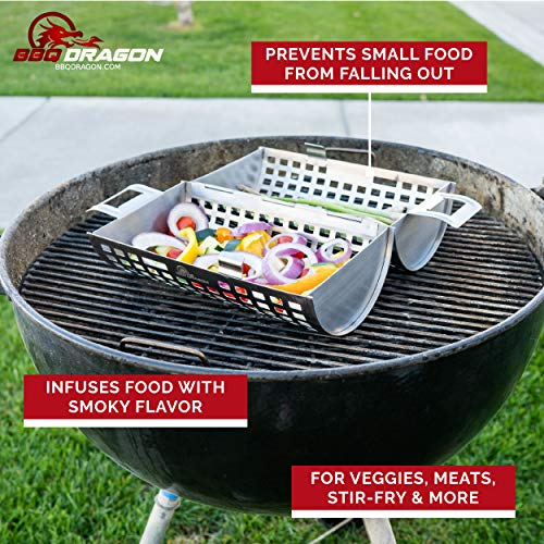 BBQ Dragon Rolling Grill Basket for Vegetables, The ONLY Vegetable Grilling Basket That Rolls to Turn Kabobs, Veggies and Shrimps on Your BBQ Grill – Grilling Accessories from