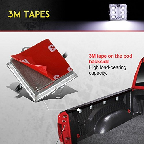 Partsam LED Truck Bed Light Strips 8pods 6-5050-smd White LED Rear Work Box Lighting Kit Waterproof LED Bed Light for Truck Pickup Cargo Trailer RVs