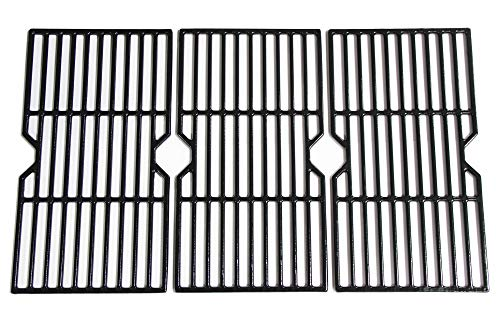 Mr. KAN Grill Grid Grates Replacement for Charbroil, Master Chef, Backyard Grill, Kenmore Sears Gas Grills, Set of 3-Piece Porcelain Coated Cast Iron Cooking Grids