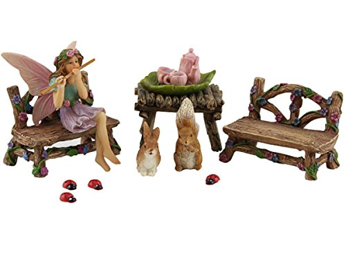 Pretmanns Fairy Garden Fairy Accessories – Miniature Fairy Figurine & Furniture – 14 Piece Starter Kit