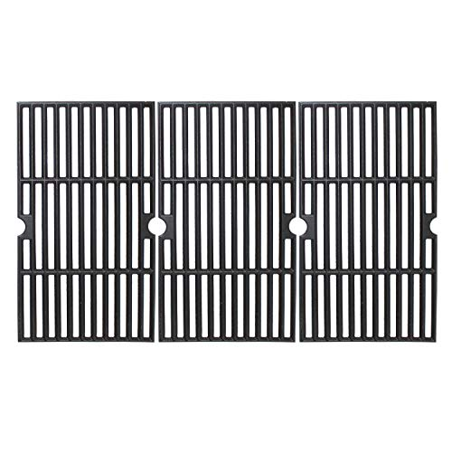 MikeGarden Matte Enamel Cast Iron Cooking Grates 16 7/8 x 27 15/16″ for Charbroil 463441312, 463441412, 463441512, 463441513, 463441514, 463460708, 463460710, 463461613, Set of 3