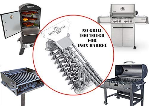 Inox Barrel Grill Brush with Scraper and Bottle Opener | Premium Quality Stainless Steel Grill Cleaner | Bristle Free | Designed for Gas/Ceramic/Iron/Charcoal/Steel Grill Grates/etc.