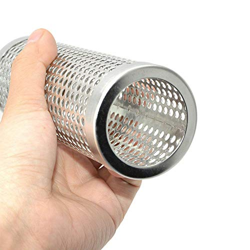 ONLY-FOR-ME-1 BBQ Stainless Steel Perforated Mesh Smoker Pellet Tube Pipe Outdoor Cooking Barbecue Grill Smoke Filter,Round 12in